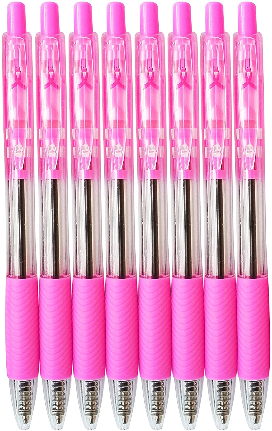 💖Breast Cancer Awareness Click Clip Ballpoint Pens with Black Ink, 8-ct.