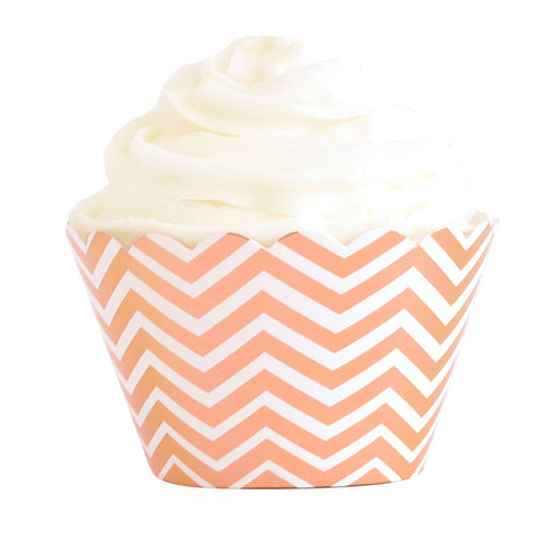 Chevron Rose Gold Foil Cupcake Wrapper