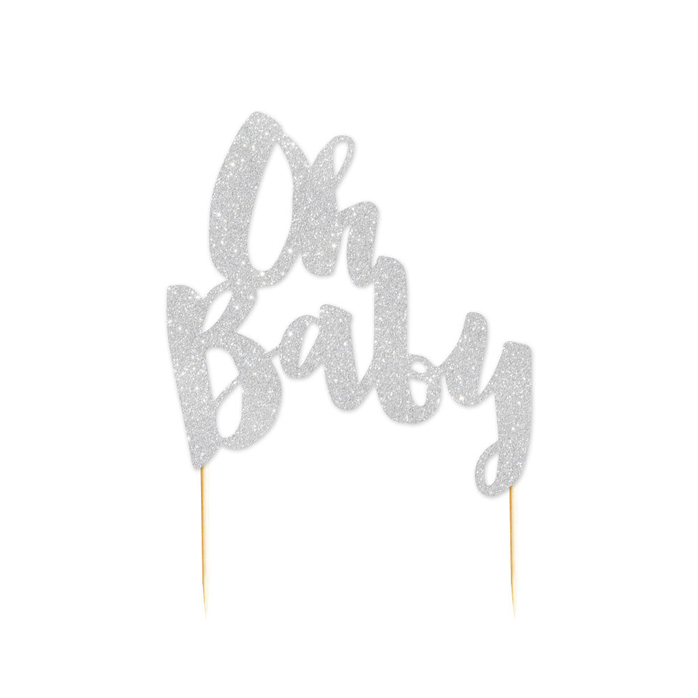 Oh Baby Rose Silver Glitter Cake Topper