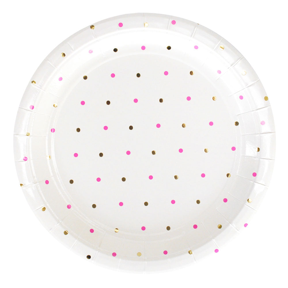 Gold and Pink Dots Large Plate - Pack of 10