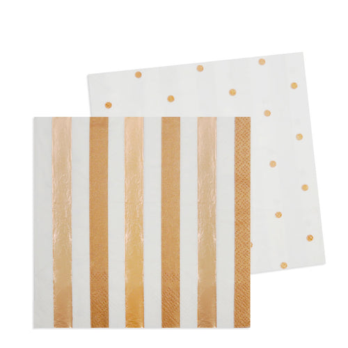 Rose Gold Stripes & Dots Cocktail Napkin - Pack of 20