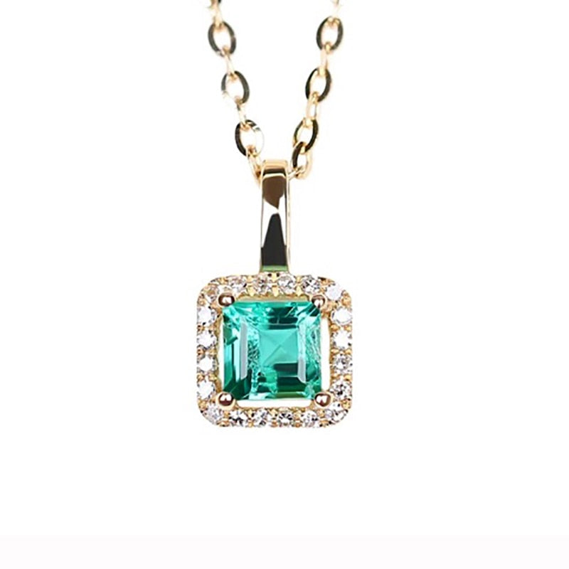0.28 Carat Natural Emerald 18k Solid gold Square pendnat Fine Jewelry girlfriend birthd green gemstone