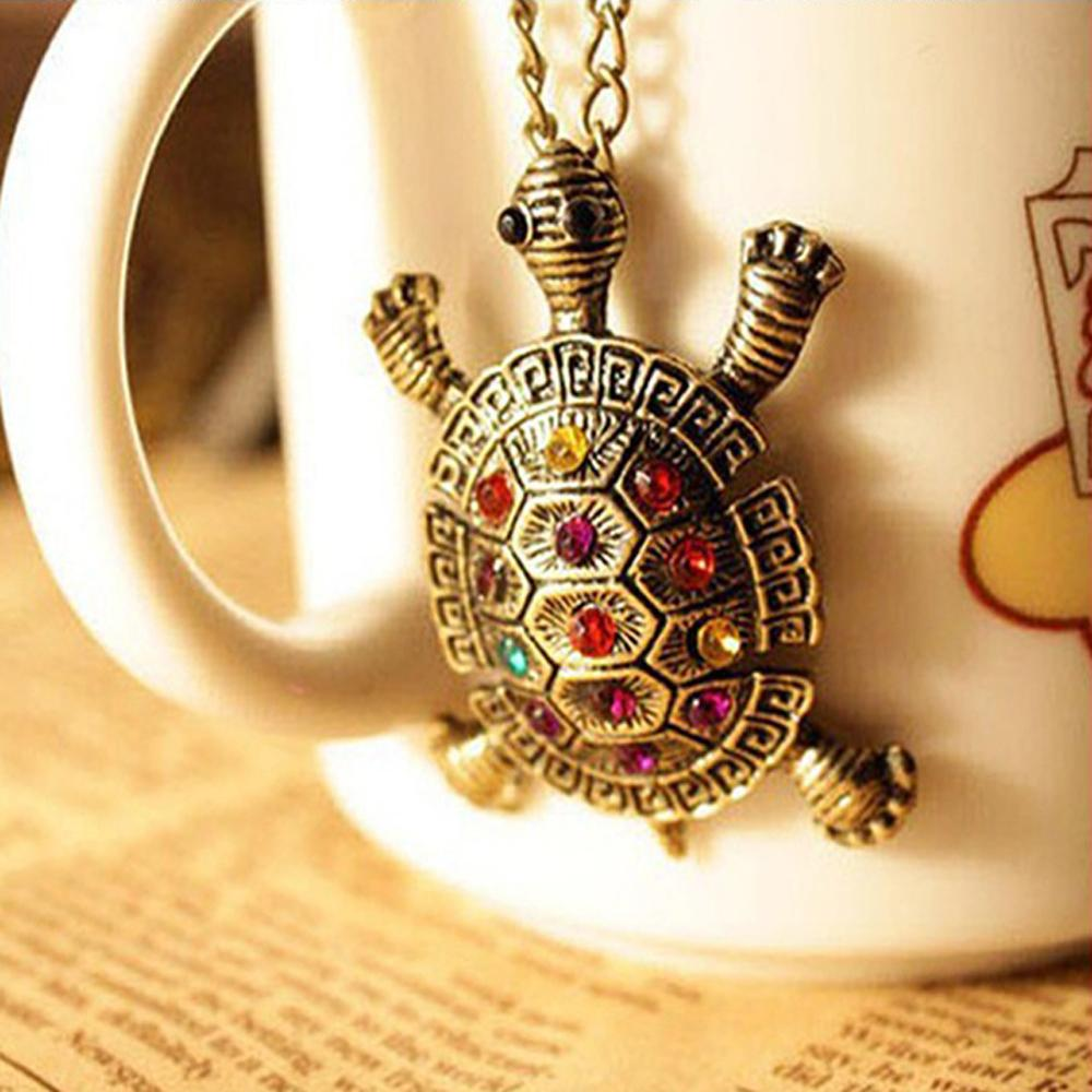 ($0.45 1pcs) Vintage inl colorful cute little turtle necklace chain sweater long section of ornaments clothing