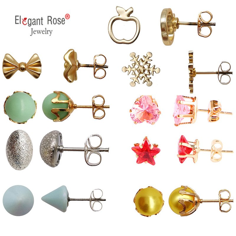 1-9 Pairs Crystal Simulated Pearl Stud Earrings Gold Color Geometric Animal Shape Cut Earrings Set For Girls Boucle D Oreille