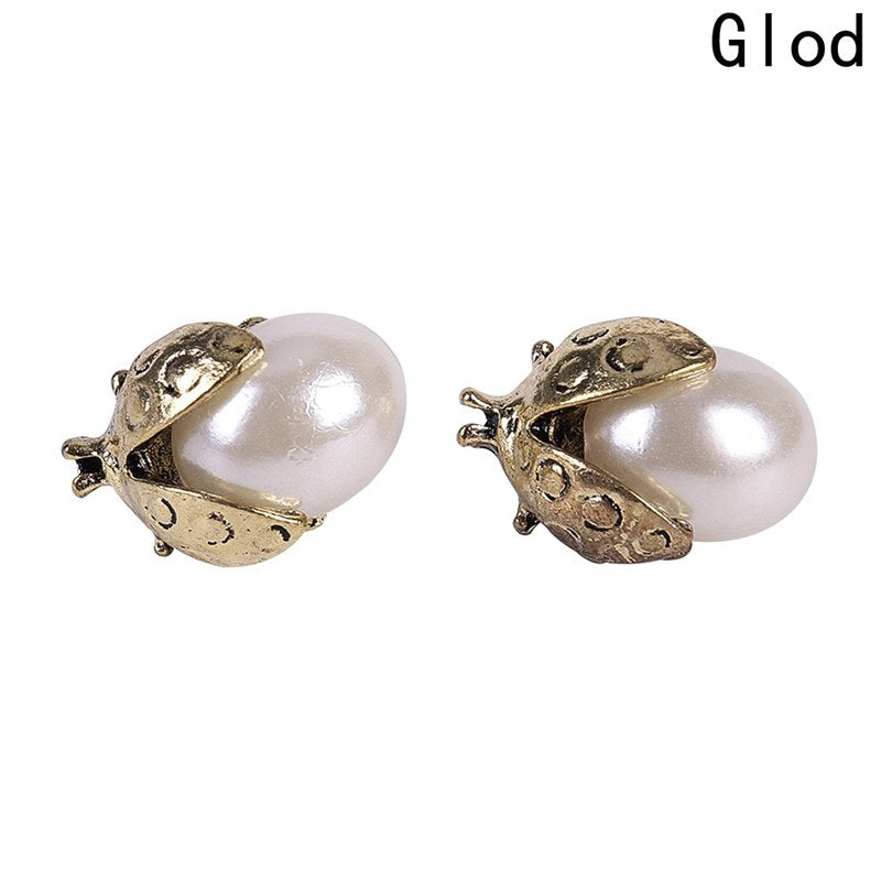 1 Pair Ladybug Shaped Crystal Exquisite Stud Earrings Rose Gold Color Double Sides Simulated Pearl Earrings For Women Jewelry