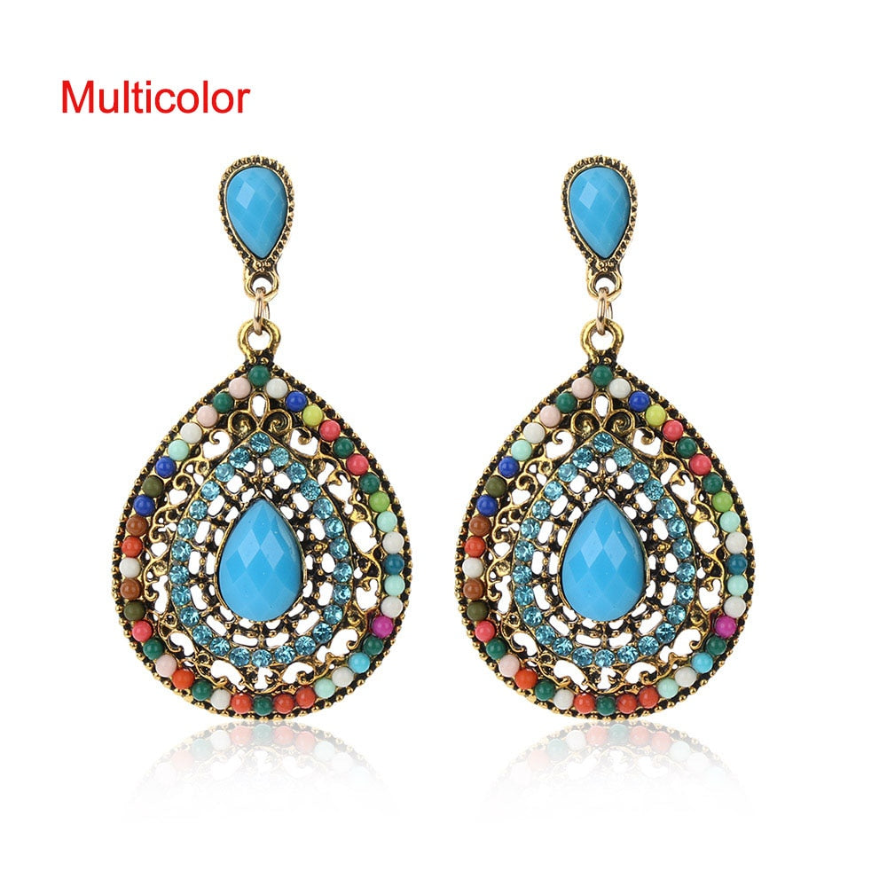 1 Pair Vintage Drop Earrings For Women Ethnic Resin Multicolor Bead Large Bohemia Dangle Earrings Statement Jewelry