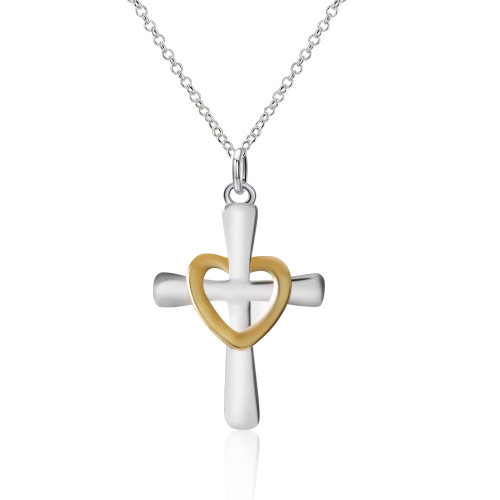 1 Pcs Fashion Cross Heart Pendant Necklace Charm Silver Plated Necklaces For Women Jewelry