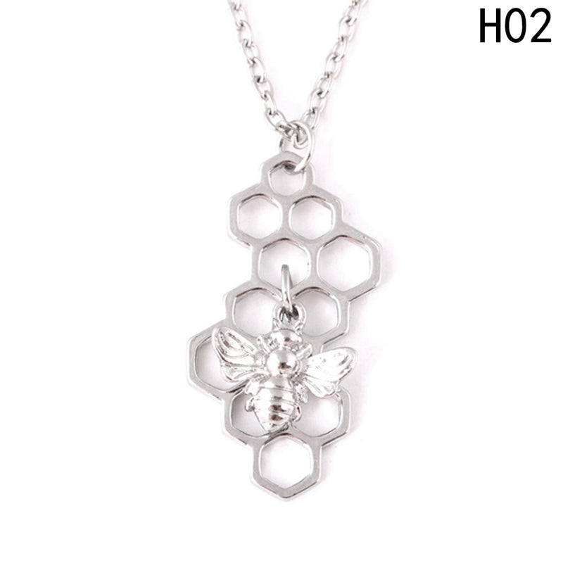 1 Piece Golden Silver Color Honeycomb Bee Animal Pendant Women Girls Trendy Lovely Pendant Necklace Gift