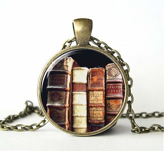 (1 Pieces/Lot) Book Necklace, Library Necklace, Book Jewelry, Victorian,Picture Pendant, Teacher Jewelry, Antique,Art, Print
