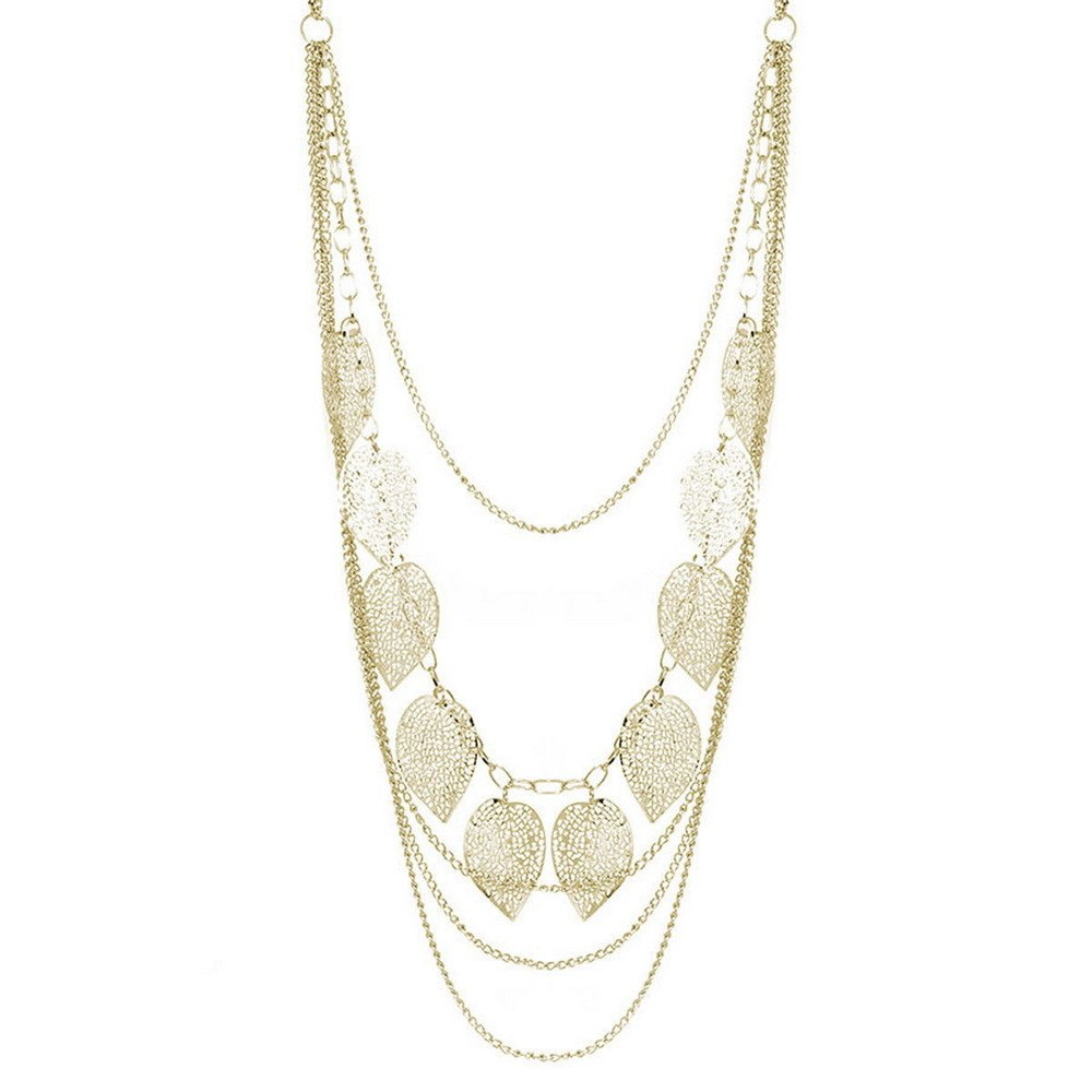 1 pcs Temperament Individuality Leaf Necklace Pendant Female Glamour Long Sweater Chain Silver & Gold Color
