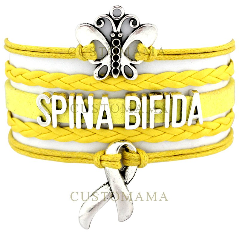 (10 PCS/Lot) Infinity Love Spina Bifida Awareness Ribbon Wrap Bracelet Survivor Yellow Suede Leather Custom any Theme Jewelry