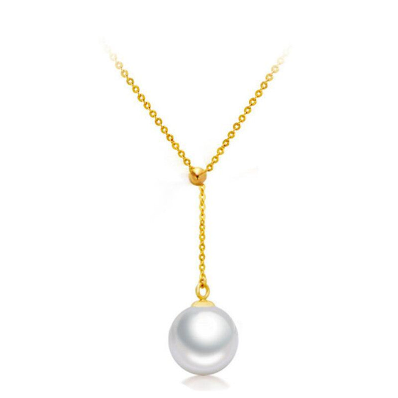 100% 925 Sterling Silver Ball Beads Round Natural Pearls Adjustable Necklaces & Pendants For Women Simple Fashion Jewelry N313