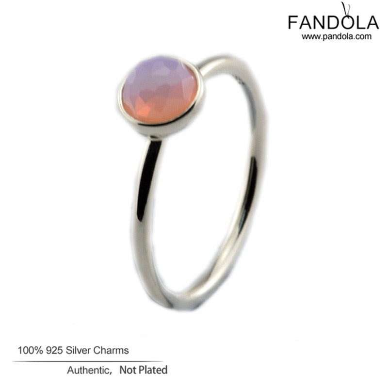 100% 925 Sterling Silver Jewelry October Droplet Ring Opalescent Pink Crystal Silver Wedding Rings for Women Free Shipping