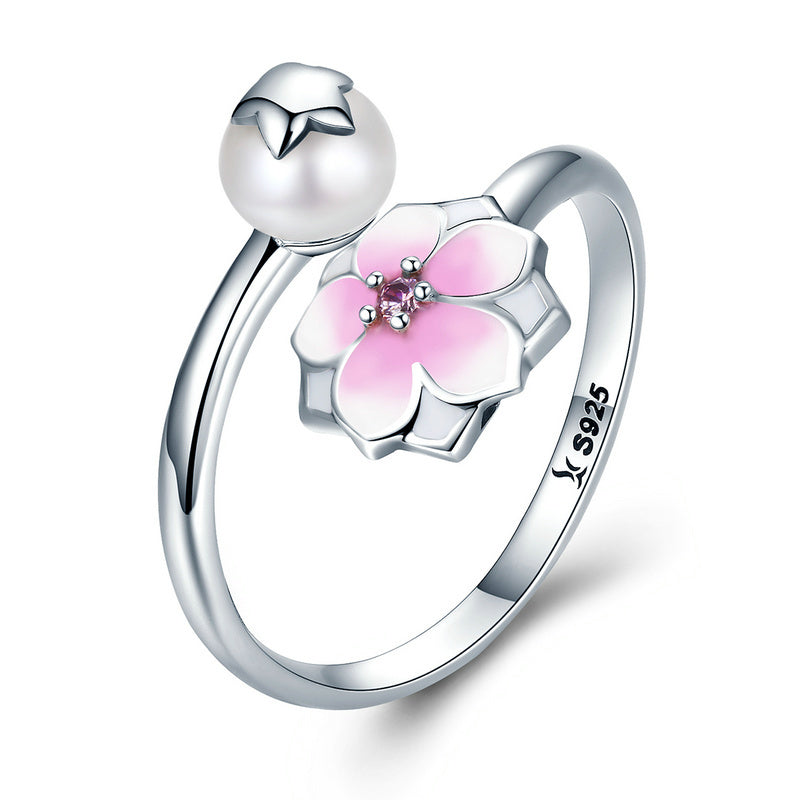 100% 925 Sterling Silver Magnolia Bloom, Pale Cerise Enamel Open Finger Rings for Women Sterling Silver Jewelry SCR126