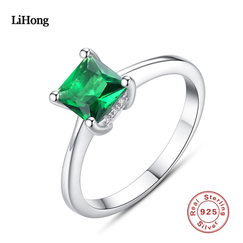 100% 925 Sterling Silver Ring Emerald Silver Ring Woman Charm Jewelry Boutique