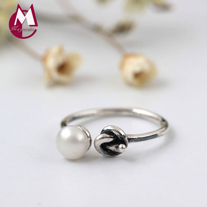 100% 925 Sterling Silver Rings For Women Simple Natural Pearls Geometry Knot Rings Fine Vintage Jewelry YR62