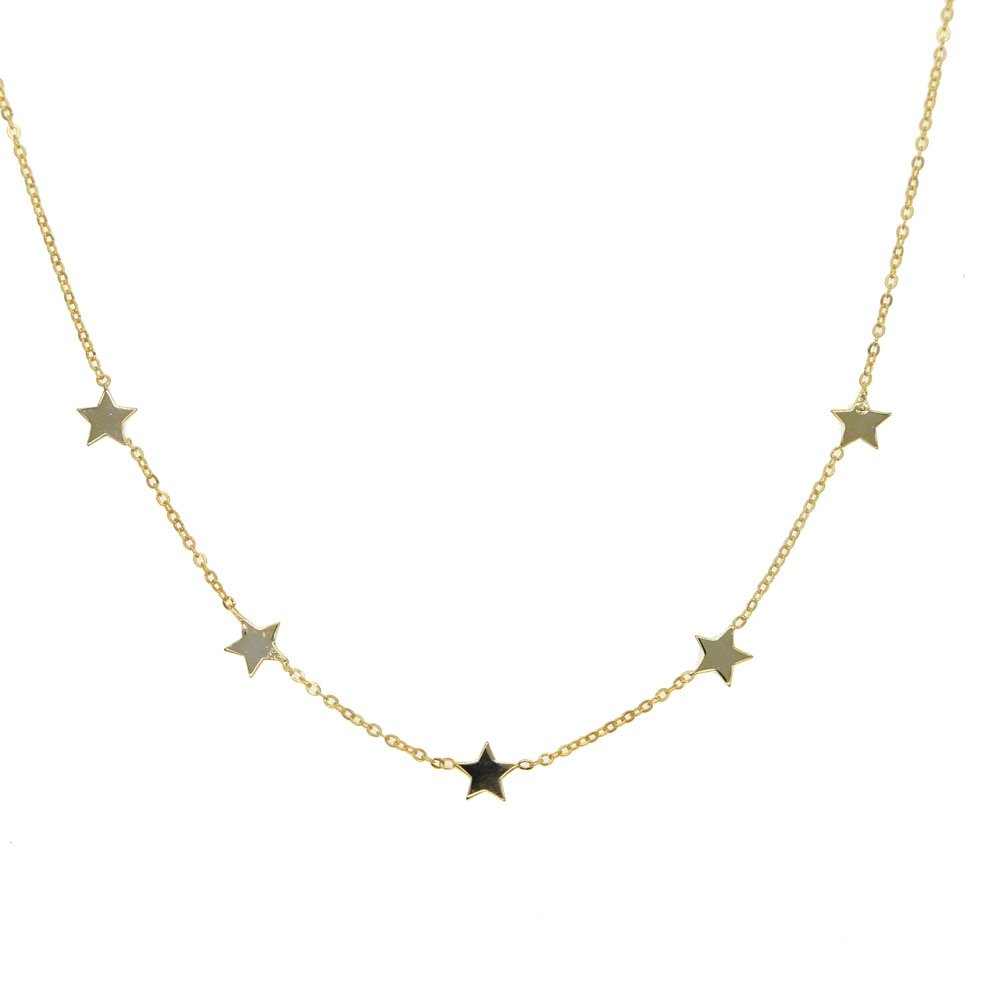 100% 925 sterling silver Wishes Stars Pendant Necklace Gold Silver Minimalist Mini collar collier delicate simple choker necklac