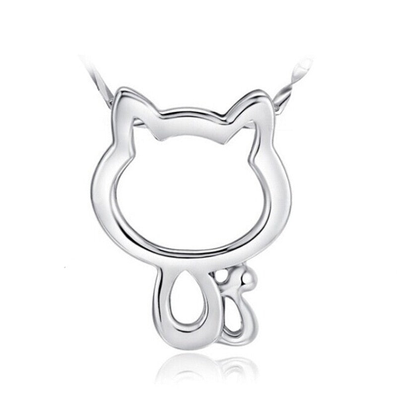 1pc Cute Running Origami Cat Pendant Collar Necklaces Cute Little Hollow Cats Animal Lovers Anime Collar Mujer Jewelry