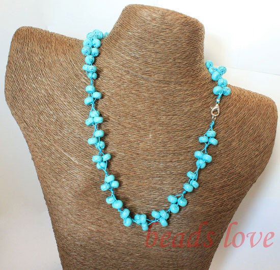 100% Natural Stone Blue Turquoises Rondelle Lobster clasp necklace 49cm(19) Handmade Free shipping(w02735)