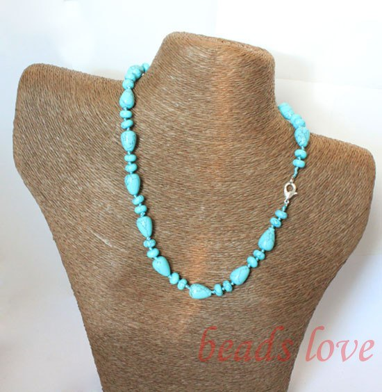 100% Natural Stone Necklace Blue Turquoises Teardrop Lobster clasp Chokers necklace 46cm(18) Free shipping(w02718)