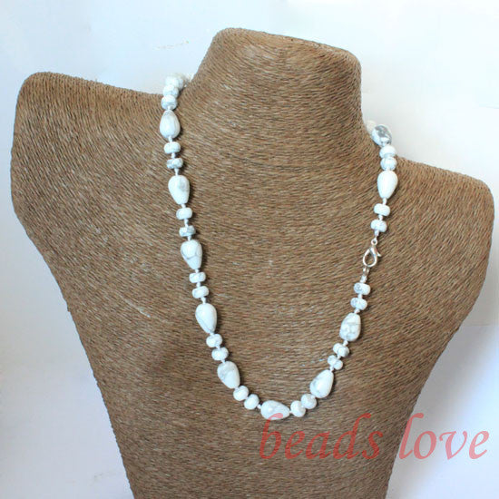 100% Natural Stone White Turquoises Teardrop Lobster clasp necklace 46cm(18) Free shipping(w02724)
