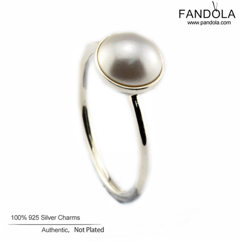 100% Real 925 Sterling Silver Jewelry Decoration Ring Luminous Droplet White Crystal Pearl Wedding Rings for Women High Quality