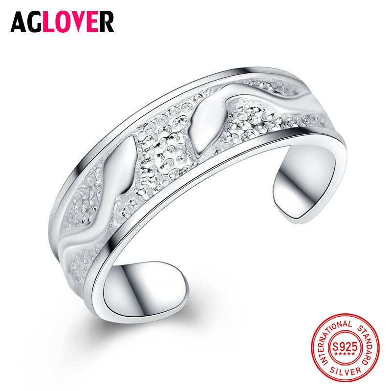 100% Real 925 Sterling Silver Jewelry Vintage Leaf Rings for Women Men High Quality Silver Ring Jewelry