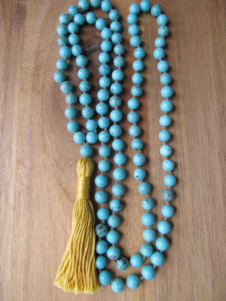 108 Bead Mala Necklace Turquoises Necklace Yoga Jewelry Tassel Necklaces Japa Mala Prayer Beads Meditation Knotted Necklaces