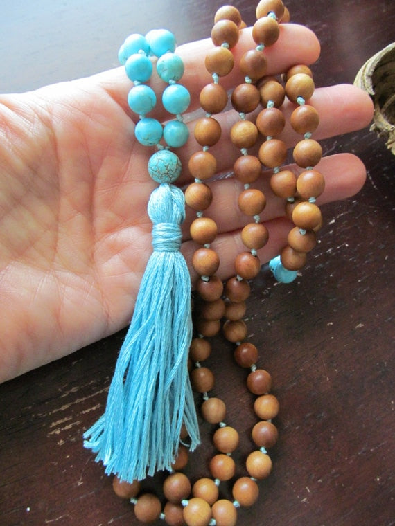 108 Bead Mala Necklace Turquoises and Sandalwood Necklace Tassel Necklaces Yoga Mala Beads Jewelry Prayer Beads Necklaces