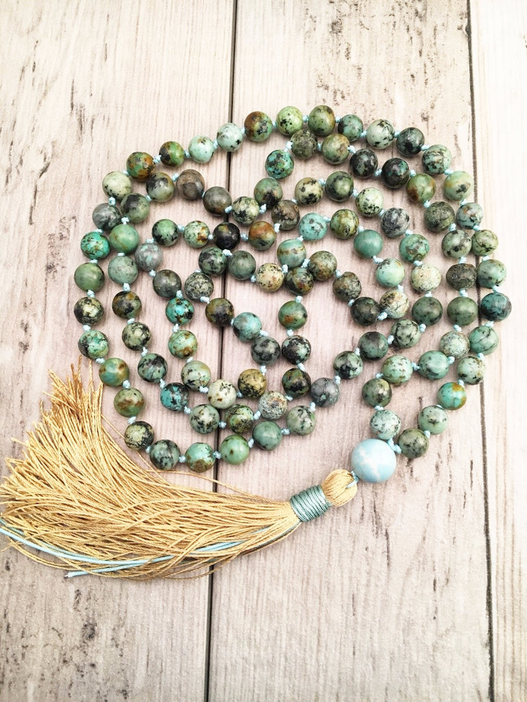 108 Mala Bead Necklace African Turquoises Knotted Necklace Tassel Necklaces Prayer Necklaces Yoga Mala meditation Jewelry