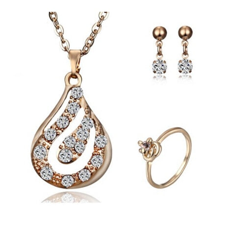 11 styles gold Jewelry Sets Necklace Earring Ring Heart Number water Pendant Necklace Jewelry Set For Women Bride Wedding Gifts