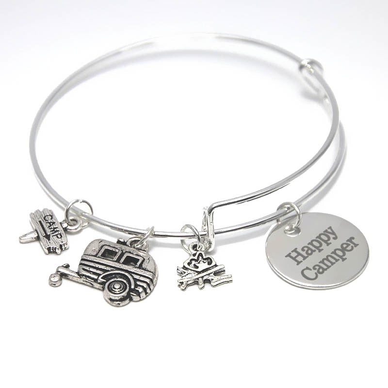 12pcs/lot Camping Happy Camper Bracelet Expandable Bangle Charm Bracelet Jewelry
