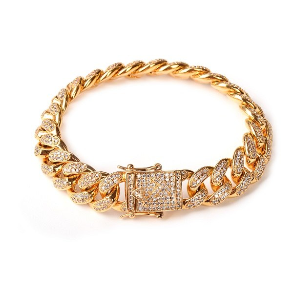 14mm Men Zircon Curb Cuban Link Bracelet Hop Jewelry Gold Silver Thick