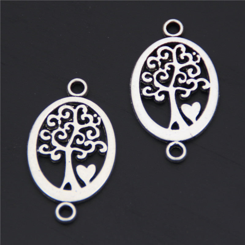 15pcs-Antique-Silver-Tree-With-Heart-Connector-Charms-Round-Shaped-Jewelry-Finding-Necklace-Pendant-A2586
