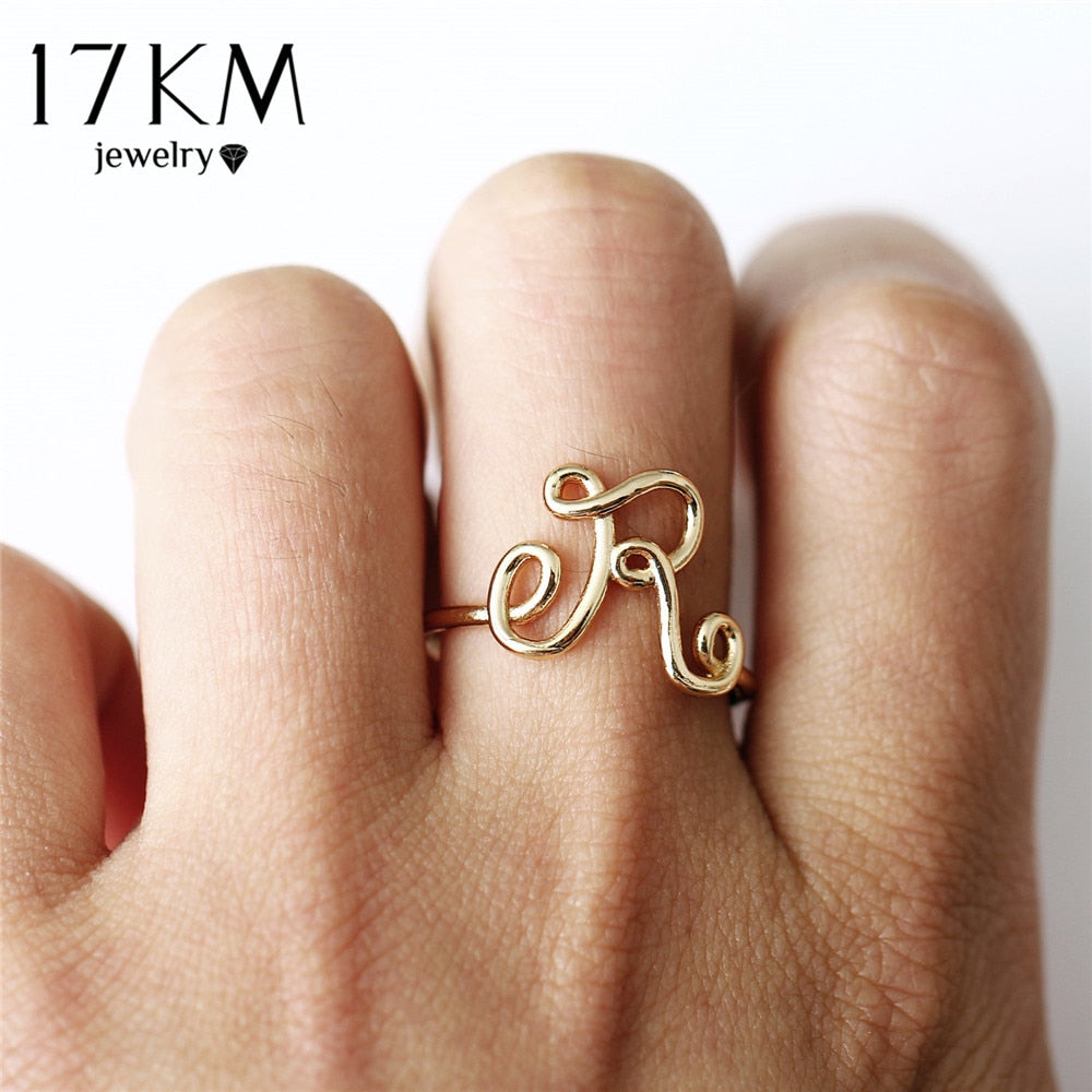 Fashion Letter Rings For Women Simple Gold Silver Color Name Ring Fema