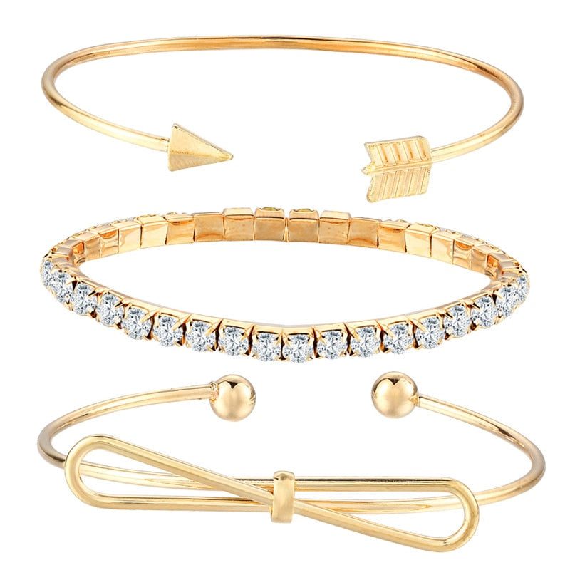 Romantic Round Butterfly Clip Arrow Bangles Set For Women Crystal Gold Silver Color Cute Charm Bacelets Gifts