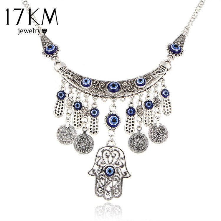 Vintage Silver Color Statement Necklaces For Women 2020 Fatima Eye Hand Tibetan Pendants Ethnic Jewelry Maxi Accessories