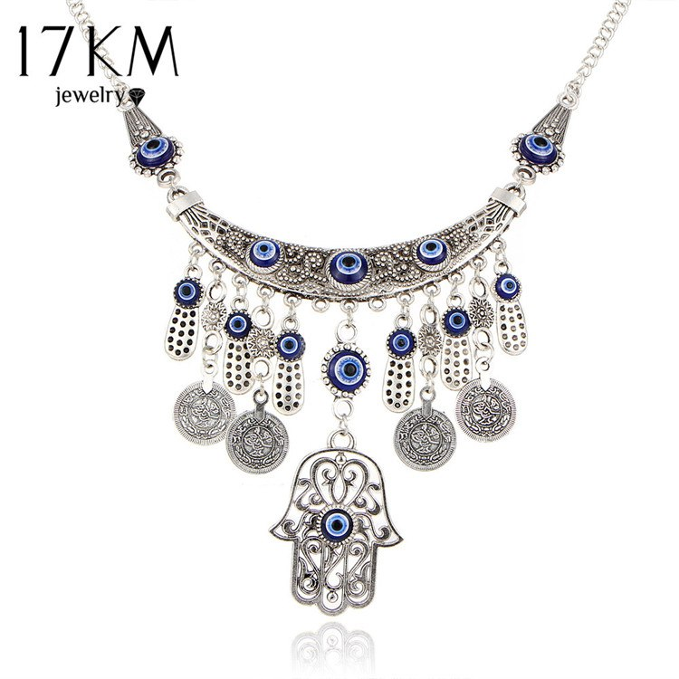 Vintage Silver Color Statement Necklaces For Women 2017 Fatima Eye Hand Tibetan Pendants Ethnic Jewelry Maxi Accessories