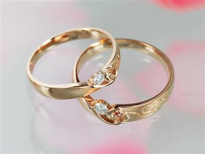 18K Yellow Gold Diamond Wedding Couple Ring Set for Bride Groom 0.07+0.06ct Natural Diamond Handmade Engraving