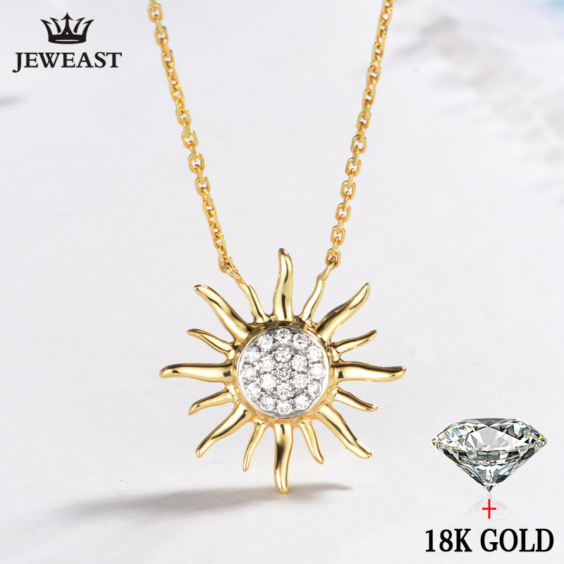 18k Gold Necklace Pendant Sun Shiny Women Girl Miss Gift Girlfriend Natural Real Party Trendy Good 2017 New Hot Custom