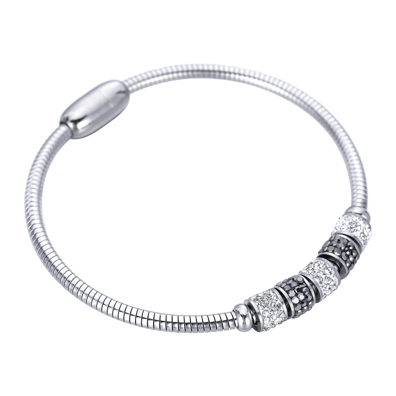 1PC European Style Bangle Crystal Big Hole Beads Charm Bracelets With Snake Chains Stainless Steel Statement Bracelets For Women