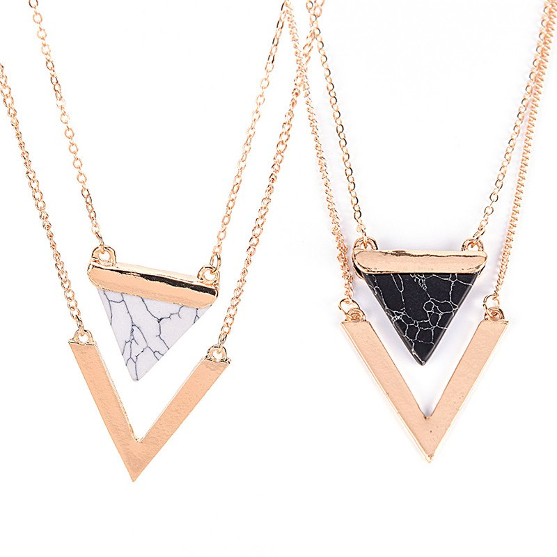 1Pc Triangle Turquoises Necklace For Women Gold Color Chain Chocker Necklace