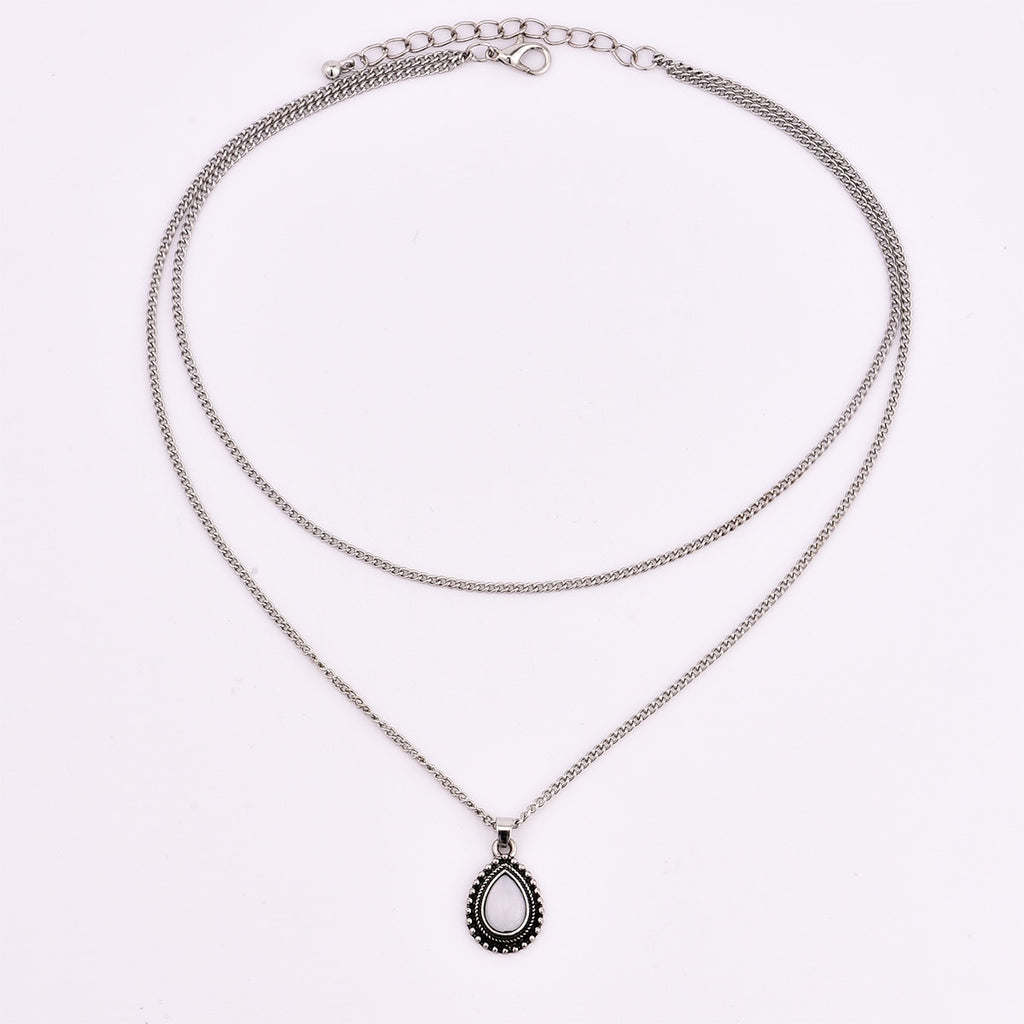 1lots=2pcs New vintage silver color drop stone pendant necklace women girl jewelry gifts N0045
