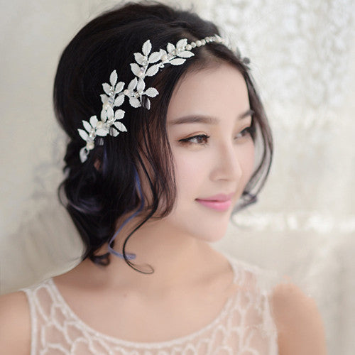 1pc 2017 Korean Sweet Bridal Bride Prom Floral Flower Wedding Headpiece Headband Classic Hair Jewelry Decoration Accessory White