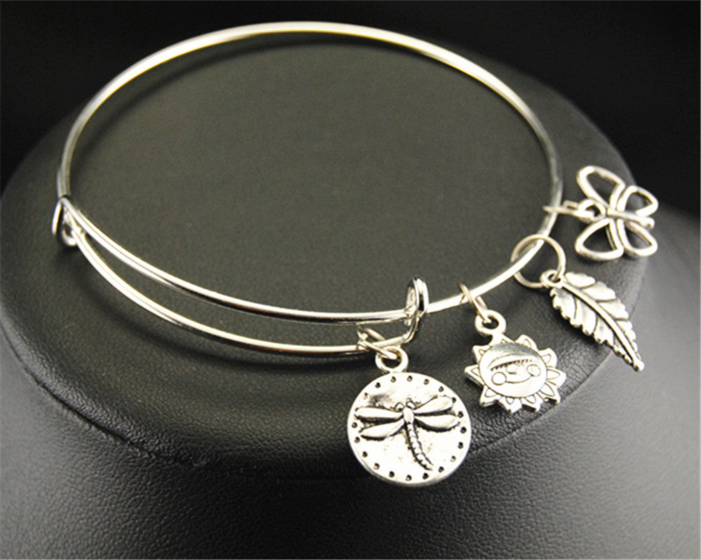 1pc Dragonfly Sun Leaf Butterfly Nature Charm Wire Wraped Adjustable Expandable Bangle Jewelry Bracelets E146