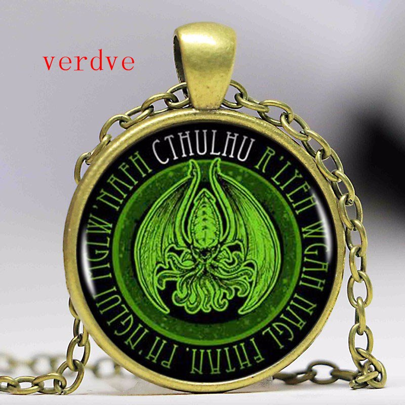 1pcs/lot Fashion Kraken Cthulhu Pendant & Necklace Cabochon Vintage Long Sliver Chain Statement Necklace Fine Jewelry