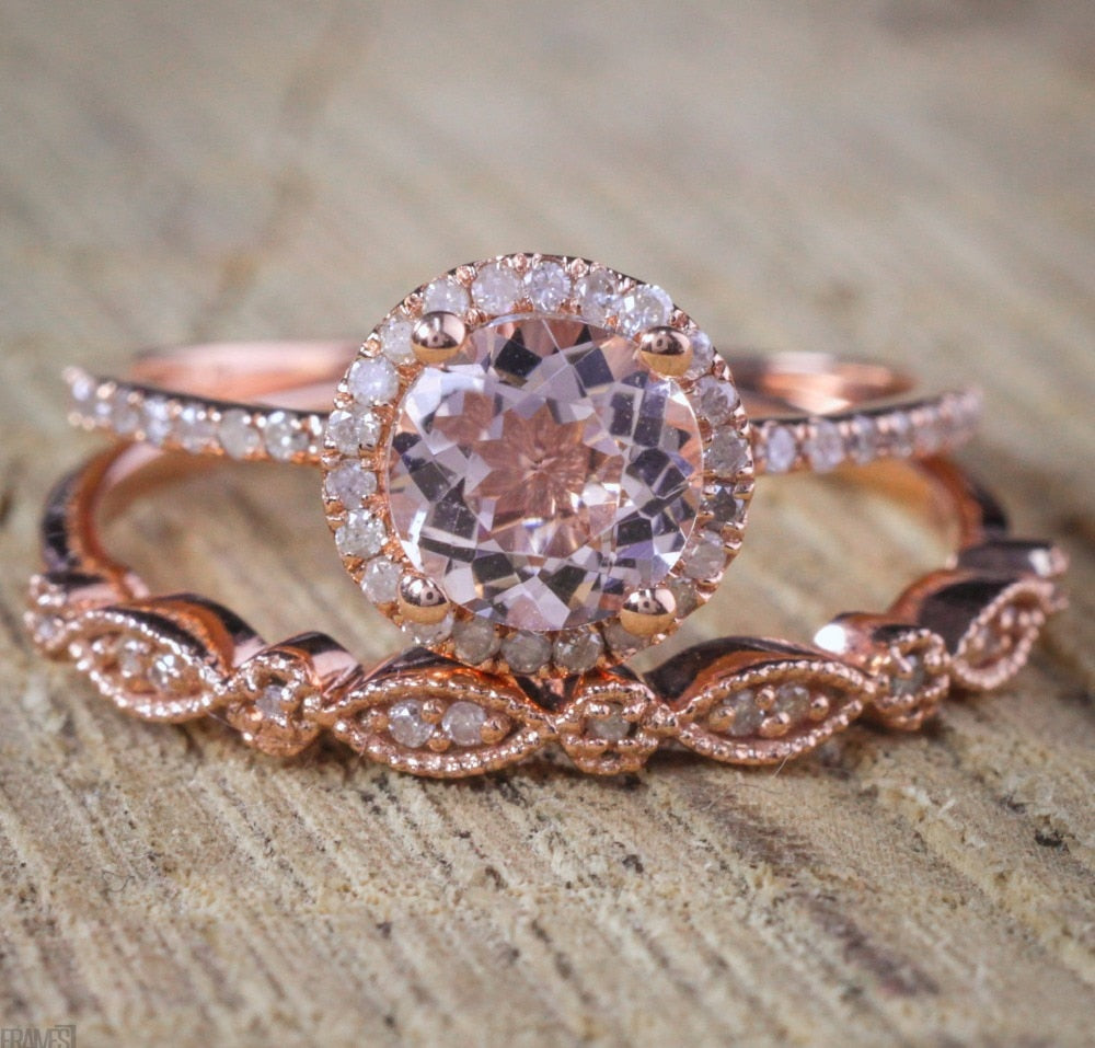 2 Pcs/Set Crystal Pandora Ring Jewelry Rose Gold Color Wedding Rings For Women Girls Gift Engagement Wedding Ring Set