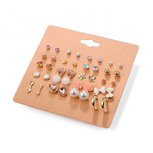 20 Pairs/Set Crystal Star Cross Imitation Pearl Rose Gold Butterfly Knot Stud Earrings Accessories Set Women Ear Jewelry #242765