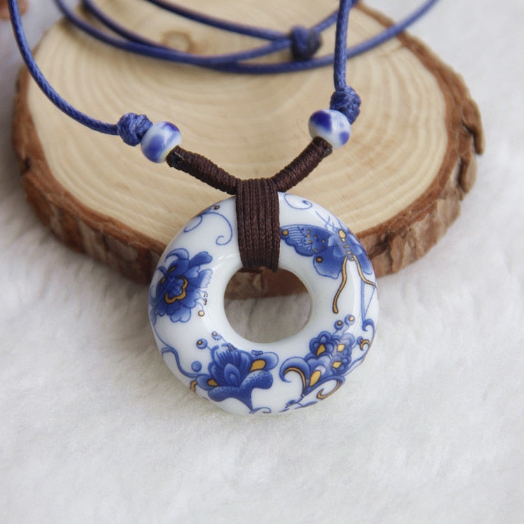 2014 Vintage Ceramic Necklace Jingdezhen Blue And White Porcelain  Pendants Accessories Jewelry Chain For Lovers