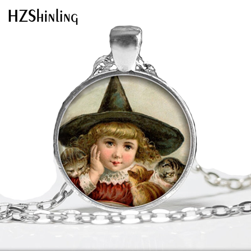 2015 NEW Little Witch Necklace Cats and Witch Jewelry Halloween Pendant Glass Dome Necklace